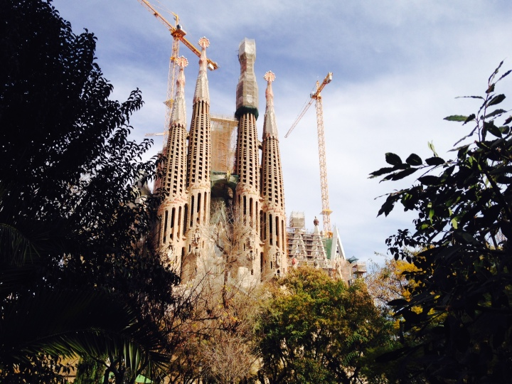 sagrada familia, a cathedral, won't be complete until around 2028. wikipedia said ground broke in 1882.