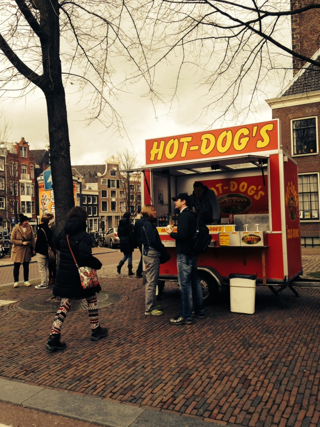 hot dog stands all over amsterdam.